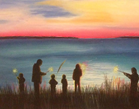Sparklers at the Lake 24x36