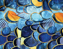 """""""Abstract deep blue"""" watercolour & gold pattern"""