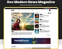 Dev Modern News Magazine Blog Website UI Template