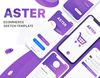 Aster - Ecommerce mobile Sketch Template