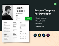 Free Resume Template For Developers With Portfolio