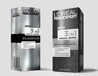 Loreal 3in1 Facial Wipe Packaging Design