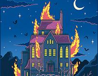Mansión en llamas