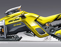 Electric snowmobile concept with three motorized tracks