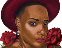 Portrait Illustration Red Hat