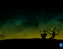 Scary House Silhouette Illustration