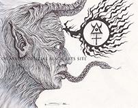 - The Horned Prophet - acrylics, pen, ink & pencil