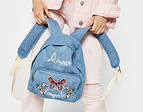 Bershka Embroidered Denim Bag