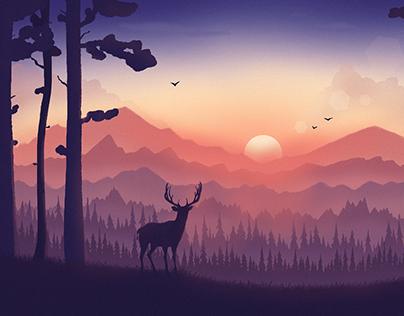 Summer landscape with deer