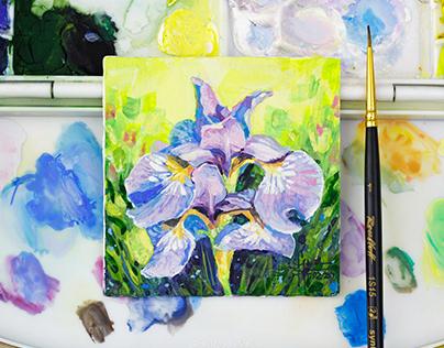 Iris flower gouache miniature painting