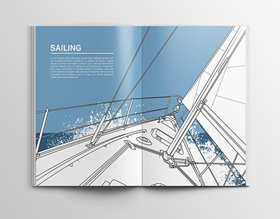 Sailing illustration for hobby book