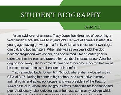 Biography Samples on Behance