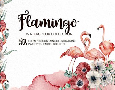 Flamingo. Watercolor collection
