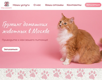 The landing page for a pet groomer