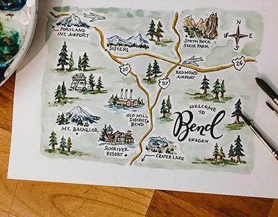 Camp & Lodge Watercolor Maps & Sceneries