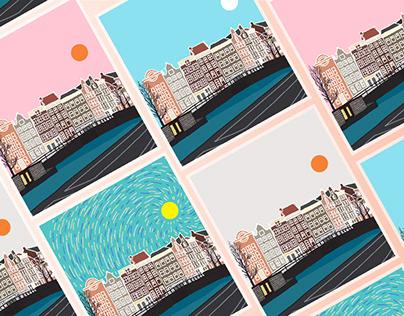 Digital Illustration Postcards Amsterdam