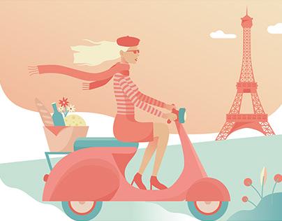 France Paris Travel Poster Illustration