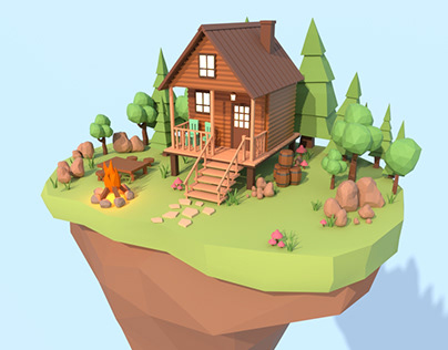 Low Poly Island Cottage