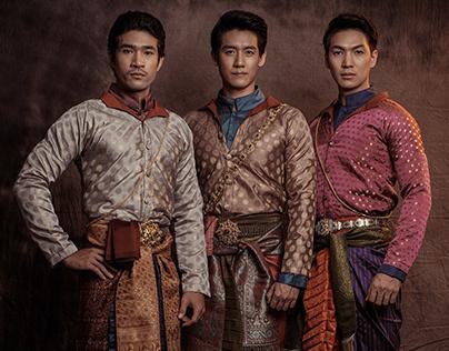 Thai men in traditional costume