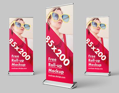 Free roll-up mockup / 85x200