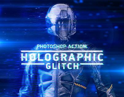 Holographic Glitch Photoshop Action