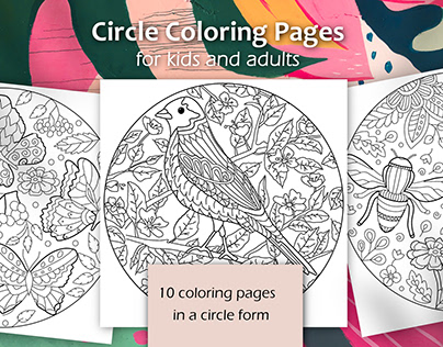 Circle Coloring book pages for kids and adults
