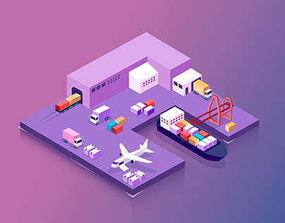 Logistics isometric illustration
