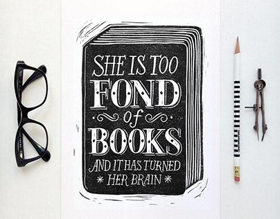 She is too fond of books lino cut print