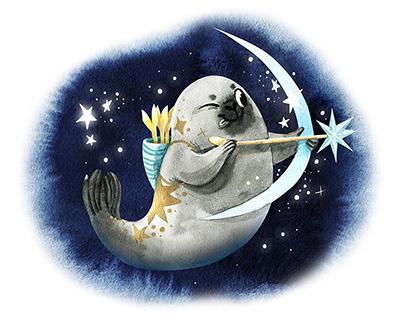 Magic watercolor Seal Zodiac sings