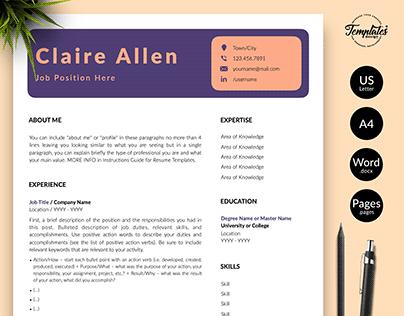 "Resume Template ""Claire Allen"""