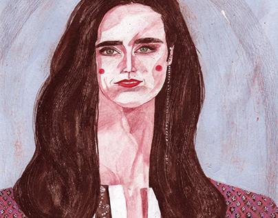 acrylic on paper . a portrait of @jenniferconnelly_ 🤍