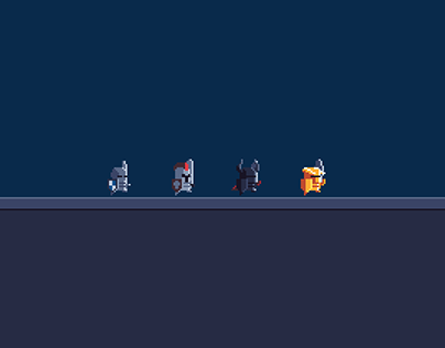 Animated 2D Pixel Art Knight Characters
