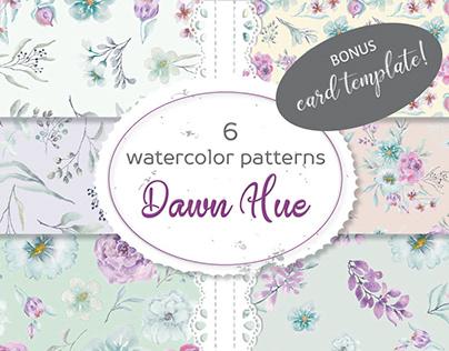 Dawn Hue: set of 6 watercolor patterns