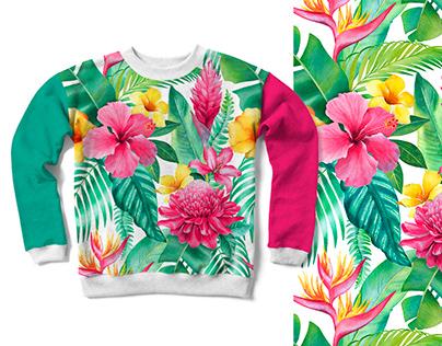 Tropical flora. Pattern design