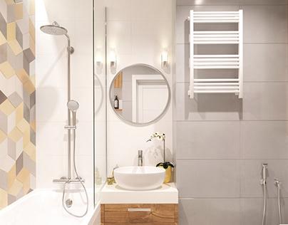 Bathroom with accent plate - hexagon. Lviv