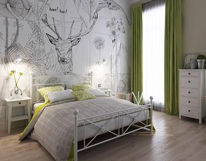Scandinavian style. Bedroom and bathroom