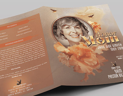 Honor Mom Funeral Program Booklet Template