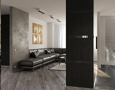 Living room & hallway | Design and 3d-visualization