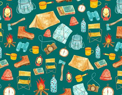 Retro Camping Adventure Pattern