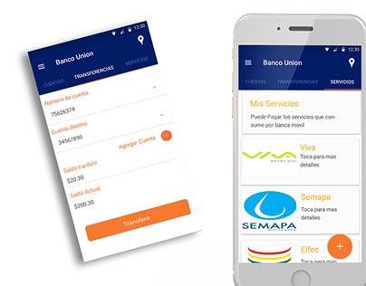 Concept mobile app banco union