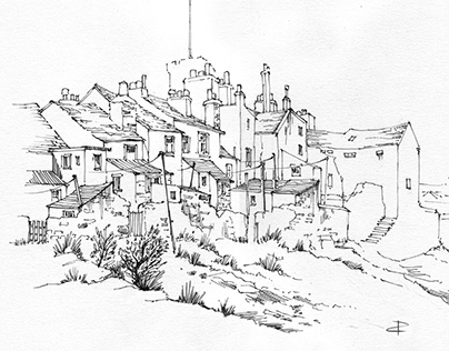 Coastal houses, Castletown - dip pen sketch
