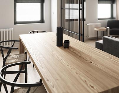Concrete and wooden apartment design
