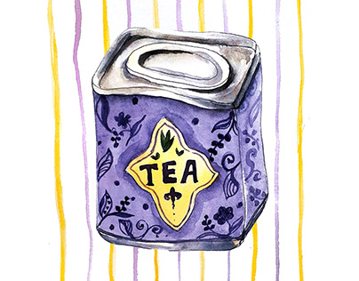 Watercolor illustration of tea tin