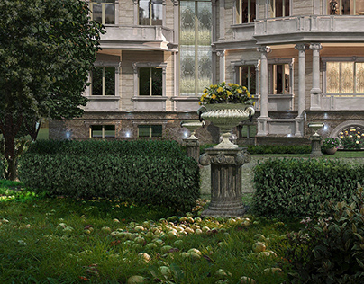 3d rendering of country house decoration