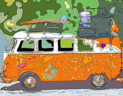 Hippie VW Bus Pop Art Culture Project