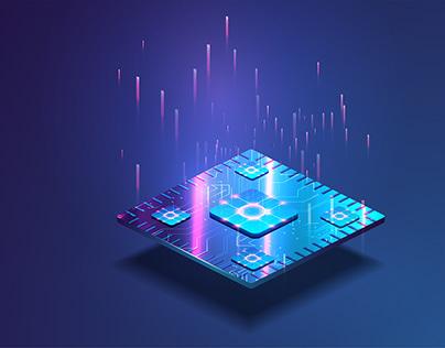Futuristic microchip processor CPU concept.Digital chip