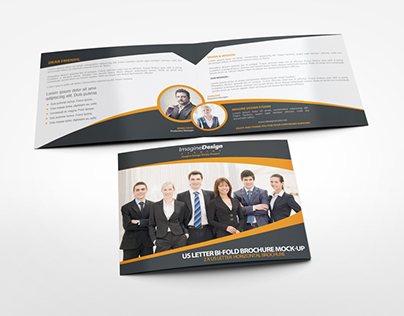 US Letter Landscape Bi-fold Brochure Mock-Up