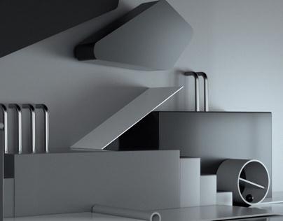 Grey 3D Compositions