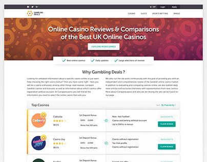 Online Casino Reviews & Comparisons. Affiliate website.