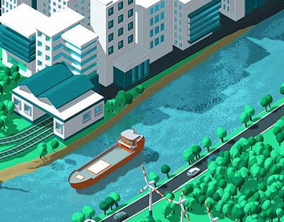 Isometric Illustration for Smart City presentation.